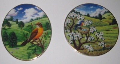 Colorful OUTDOOR Scenes w/ROBINS Oval & Round PLAQUES Wall DECOR Hangings