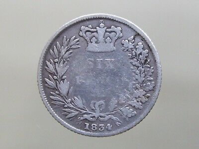 1834 William IV Sterling Silver Sixpence - Goood Coin - FREE POSTAGE (J54)