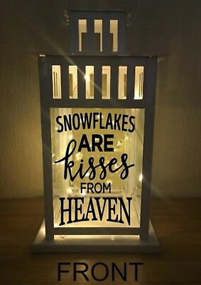 Vinyl Sticker For Lantern - Snowflakes are Kisses from Heaven with Snowflakes