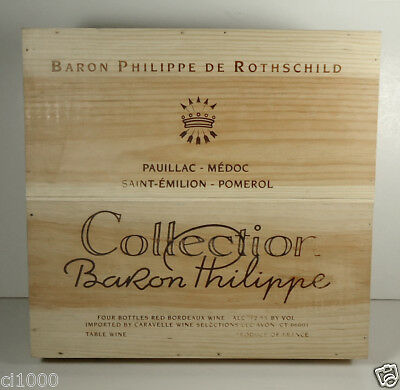 1999 COLLECTION BARON PHILIPPE Rothschild Bordeaux 4 Bottle Wood Wine Box, Crate