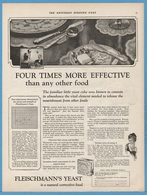 1922 Fleischmann Yeast Four Times More Effective than any other Food Print Ad