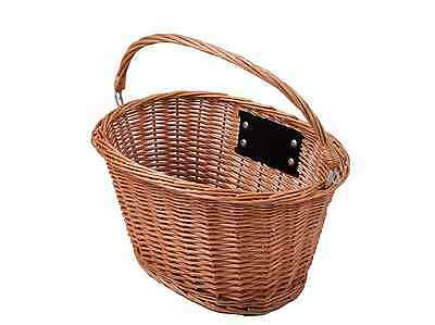 Oval Front Wicker Bike Shopping Basket Retro Carry Handle Quick Release Bracket
