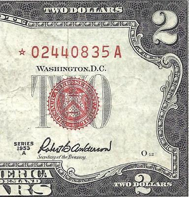 1953A $2 RED Seal *STAR* Legal Tender *UNITED STATES NOTE* Old US Paper Money!