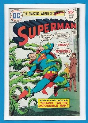 """Superman #285_March 1975_F/vf_""""search For The Impossible Man""""_Bronze Age Dc!"""
