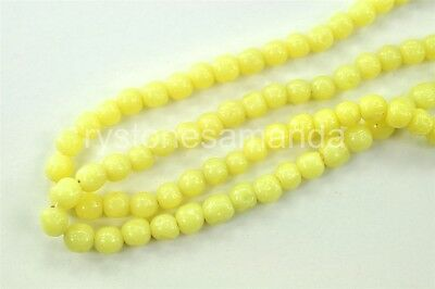 400 Vintage Japanese Hand Made Glass Beads 6mm Yellow Baroque  -V3464