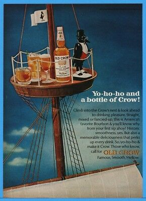 1966 Old Crow Bourbon Kentucky Penguin On Sailing Ship Mast Art Ad