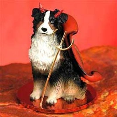 Australian Shepherd Tricolor Devil Dog Tiny One Figurine Statue
