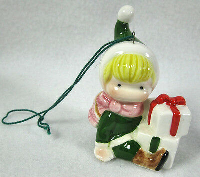 Vintage Joan Walsh Anglund Christmas Boy Ornament w/Gifts Japan 1978