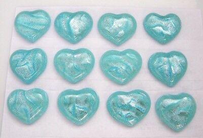 TURQUOISE heart set of 12 HEART DICHROIC FUSED GLASS (A3) CAB MOSAIC PENDANT
