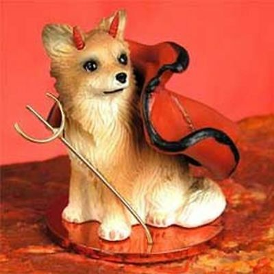 Chihuahua Tan White Longhaired Devil Dog Tiny One Figurine Statue