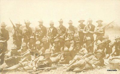 C-1915 Military Soldiers Rifles Group Photo RPPC real photo postcard 9014