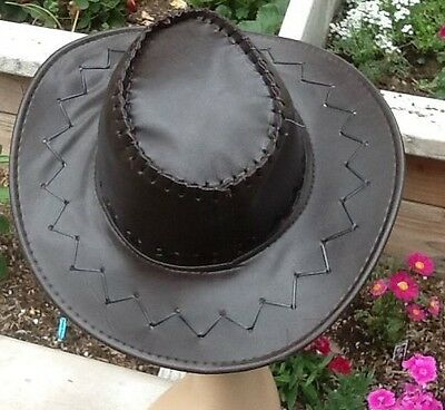 Western Hat with Whip Stitching Brown Faux Leather Light Weight Braided