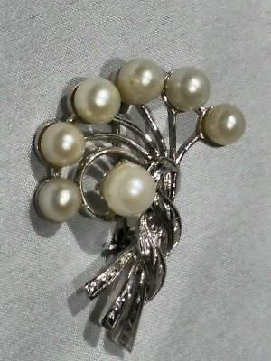Vintage Silver Tone Pendant Brooch Pearl Paste - Perfect Condition