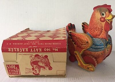 Vtg 50s Fisher Price KATY KACKLER #140 Wooden Pull Toy WITH RARE BOX