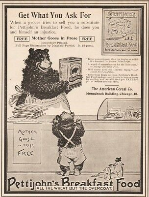 1900 Pettijohns Breakfast Food American Cereal ADORABLE Bear Toys Print Ad
