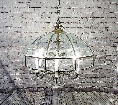 Antique Vintage Chandelier Bronze Grand Glass Dome 6 Lt. Lamp Fixture Restored