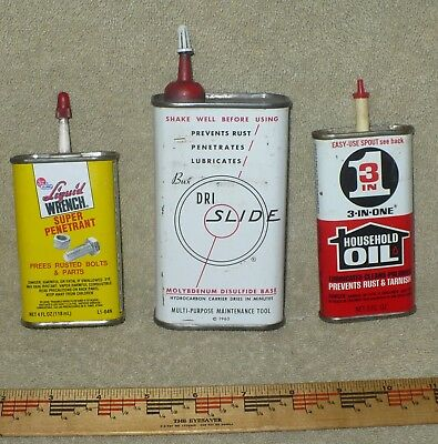 Lot Of 3 - Vintage Oil Tins / Liquid Wrench /  3-In- One / Dri Slide