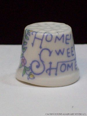 Vintage Small Porcelain Thimble Home Sweet Home Pink Flowers Floral