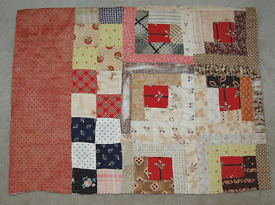 Antique Log Cabin Patchwork Calico Madder Hand Quilted Quilt Piece 15 x 20