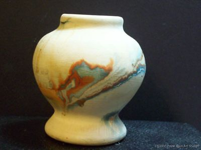 Vintage Nemadji Art Pottery Vase Colorful Swirl Terracotta Blue Orange