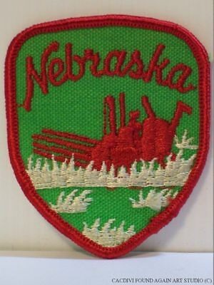 Vintage Nebraska Patch Combine Harvester State Travel Souvenir Badge