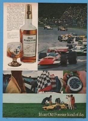1971 Old Forester Whisky Formula 1 racing cocktail recipe vintage print photo ad