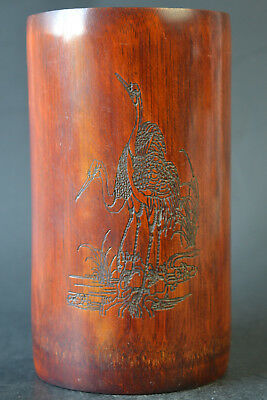 Vintage Collectible China Old Bamboo Carve Bird Beauty Noble Pen Pot