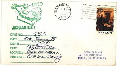 Submersible AQUARIUS I Dive Cover Gulf of Mexico 1978