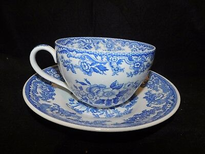 Spode Blue Room Blue And White Porcelain Jumbo Cup & Saucer British Flowers