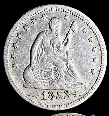 1853 Seated Liberty Silver Quarter - Arrows & Rays - XF Detail!