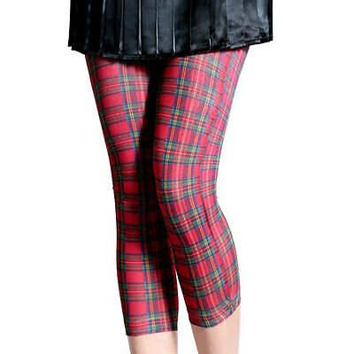 Hot Topic Opaque Red Plaid Print Footless Tight  Leggings Capri Hard To Find