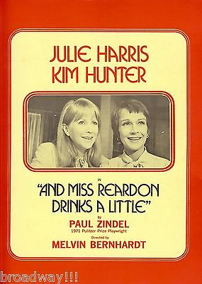 "Julie Harris ""AND MISS REARDON DRINKS A LITTLE"" Kim Hunter 1971 Souvenir Program"