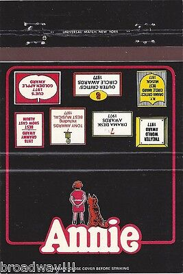 """Dorothy Loudon """"ANNIE"""" Andrea McArdle / Charles Strouse 1977 Matchbook Cover"""
