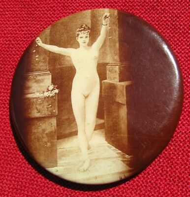 Small Antique Round Nude Lady Pocket Mirror
