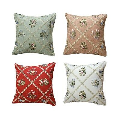 DIY Ribbon Embroidery Kit Flower Grid Pillowcase Cushion Cover Craft Gift 18""