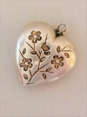 Antique Victorian Chased Engraved Heart Charm Pendant Sterling Silver Hollow