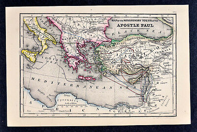 1868 Biblical Map Travels of Apostle Paul Asia Minor Greece Rome Italy Saint St.