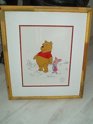 "Rare Disney Animation Cel ""two Best Friends"" Winnie The Pooh & Piglet Sericel"