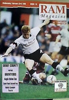 DERBY COUNTY v BRENTFORD 92-93 ANGLO/ITALIAN CUP SEMI FINAL MATCH