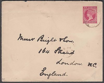 St. Lucia One Penny Scarce Ps Envelope To London England