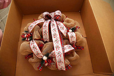 After Christmas Special - Angela's Wreaths & More Red Burlap Christmas Wreath 83
