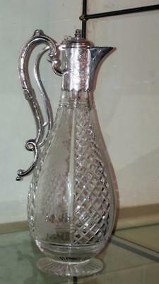Fine Antique Silver Metal and Lead Crystal Cut & Engraved Claret Jug C 1860+