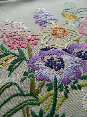 Vintage lovely hand embroidered cream cushion cover - tulips, daffodils, lilacs