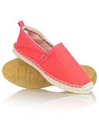 New Womens Superdry Espadrilles Dark Fluro Pink Spar