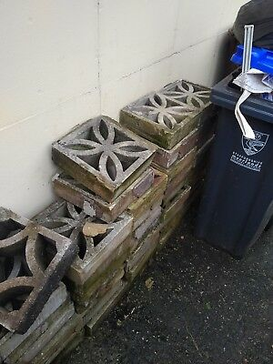 Reclaimed Retro Concrete Garden Wall, Coping Stones, Petal And Other Design
