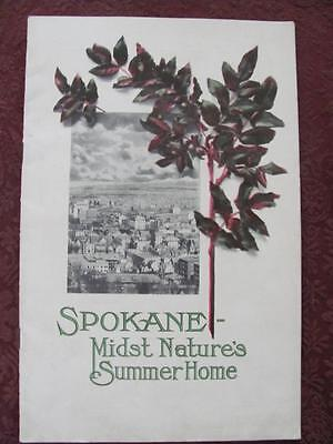 "Antique 1912 ""SPOKANE-Midst Nature's Summer Home"" Illustrated Booklet WASHINGTON"