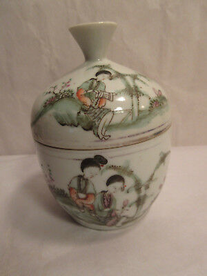 Antique Chinese Enamel Porcelain Bowl With Cover & Inscription Hand Painted