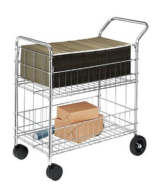 Fellowes Chrome-Plated Steel Wire Mail Cart with Upper and Lower Baskets 40912