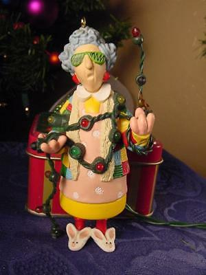 HALLMARK Christmas Ornament MAXINE in her bunny slippers decorating READ