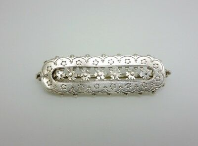 Gorgeous Antique 1892 Victorian Sterling Silver Floral Posy Ornate Brooch